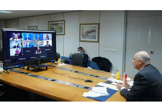 """Minister of Foreign Affairs Nikos Dendias participates in the online event of """"The Hellenic Initiative Canada"""" (31 March 2021)"""