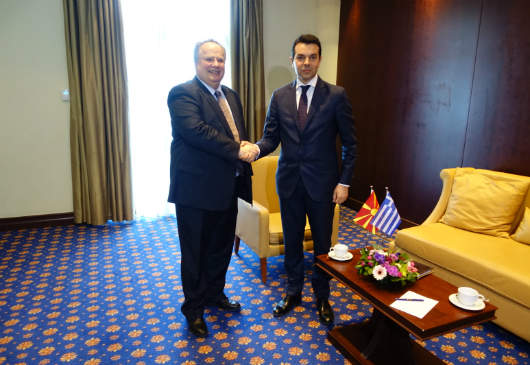 Foreign Minister Kotzias meets with the Foreign Minister of FYROM, Nikola Poposki, on the margins of the Quadrilateral Meeting in Thessaloniki (22 April 2016)