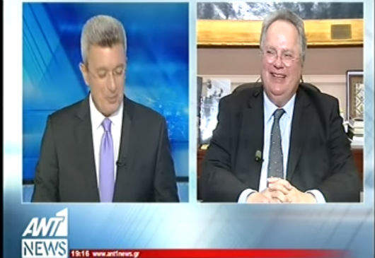 Foreign Minister N. Kotzias interview on ANT1 TVs prime time newscast, with journalist N. Hatzinikolaou