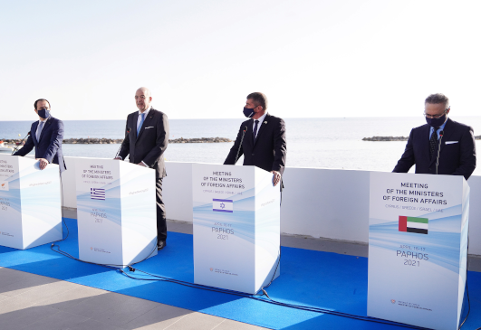 Statement by the Minister of Foreign Affairs Nikos Dendias following the Meeting of the Ministers of Foreign Affairs of Cyprus, Greece, Israel and United Arab Emirates (Paphos, 16.04.2021).