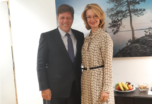 Alternate Minister of Foreign Affairs Miltiadis Varvitsiotis meets with his Finnish counterpart, Tytti Tuppurainen (Brussels, 10 September 2019)