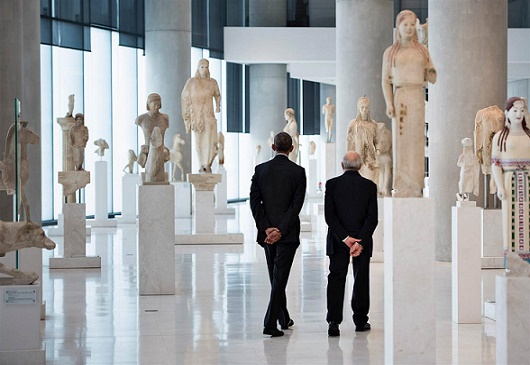 President of USA visits Acropolis and it's Museum in Athens, November 2016