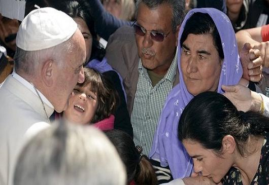 Pope Francis' visit in the greek island of Lesvos.