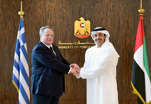 Foreign Minister Kotzias meets with UAE Foreign Minister Sheikh Abdullah bin Zayed Al Nahyan (Abu Dhabi, 24 March 2015)
