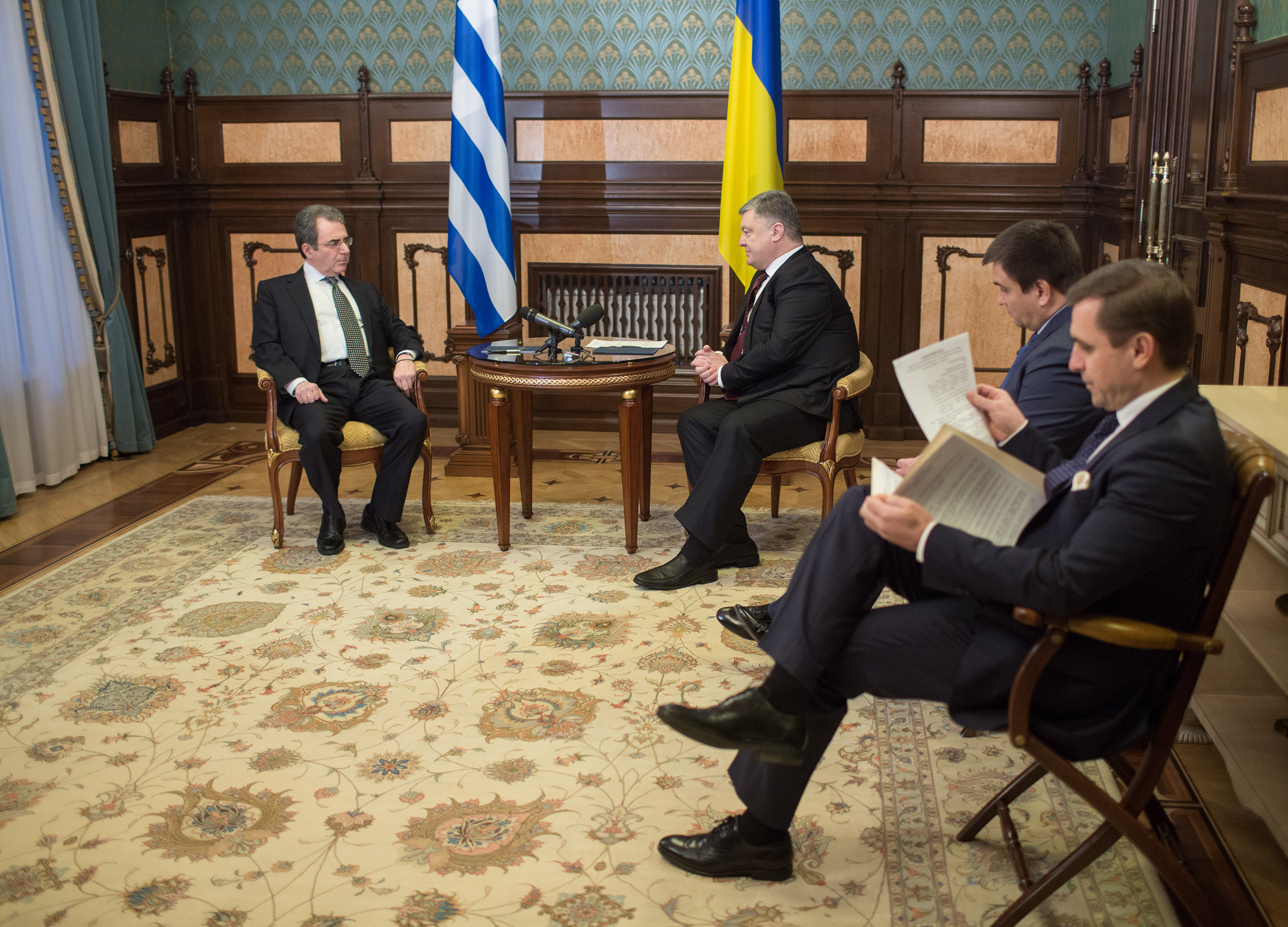 President of Ukraine Petro Poroshenko received credentials from Ambassador of Greece to Ukraine Georgios Poukamissas