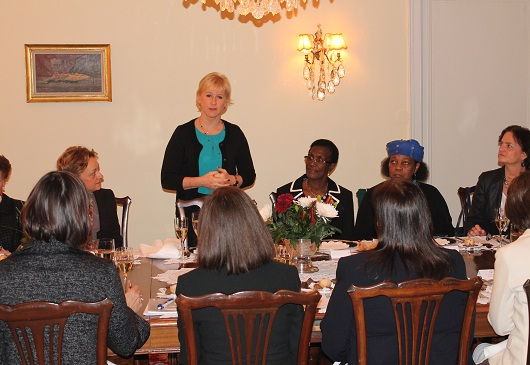 Lady Ambassadors' Group lunch with guest speaker the Minister for Foreign Affairs of Sweden, Mrs. Margot Wallström, at the Greek Residence in Stockholm, on 24 November 2014