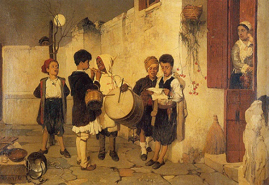 Greek art depicts Christmas and New Years Day traditions